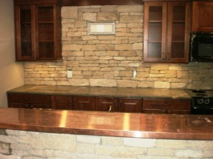 Granite stone backsplash