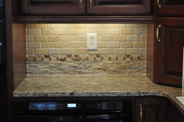 Granite stone backsplash